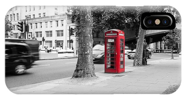 A Single Red Telephone Box On The Street Bw IPhone Case