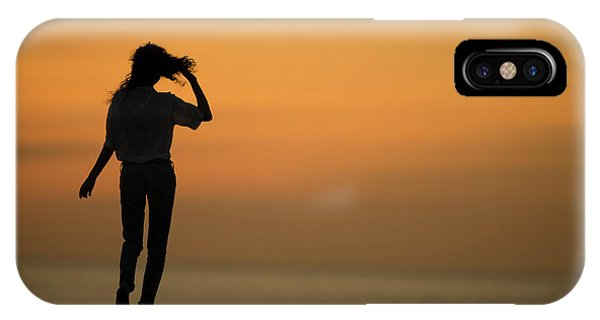 A Slim Woman Walking At Sunset IPhone Case
