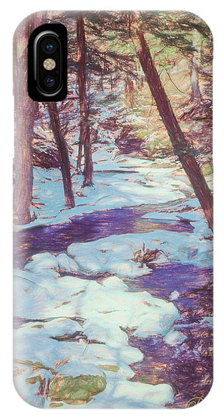 A Small Stream Meandering Through Winter Landscape. IPhone Case
