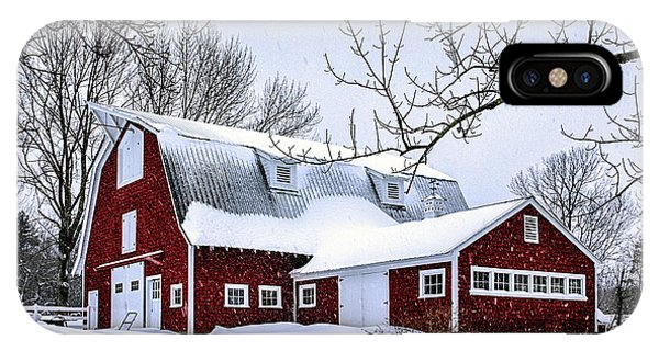 A Snowy Day At Grey Ledge Farm IPhone Case