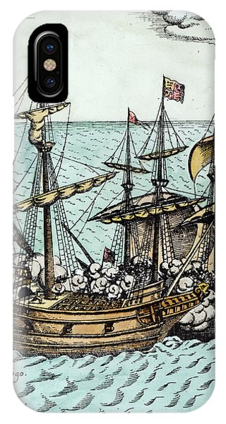 Pacific Ocean iPhone Case - A Spanish Treasure Ship Plundered By Francis Drake by Dutch School