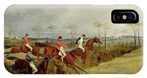 A Steeplechase - Taking A Hedge And Ditch  IPhone Case