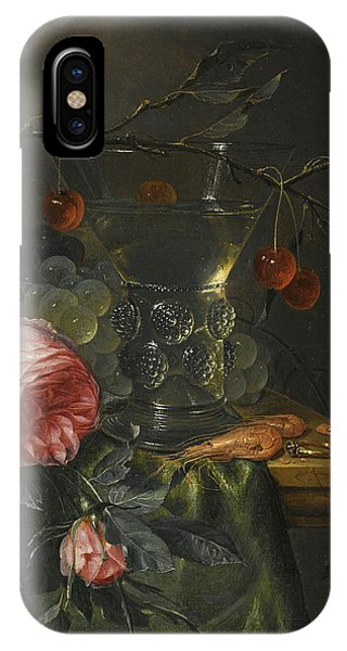 Table For Two iPhone Case - A Still Life With A Cherry Branch Over A Half-full Conical Roemer, Red And Green Grapes  by Pieter de Ring