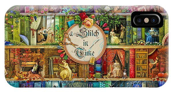 Shelves iPhone Case - A Stitch In Time by MGL Meiklejohn Graphics Licensing