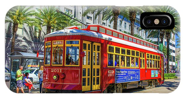 Trolley Car iPhone Case - A Streetcar On Canal Street, New Orleans, Louisiana  by Art Spectrum