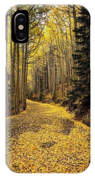 A Stroll Among The Golden Aspens  IPhone Case