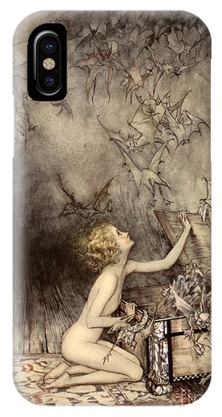 Lid iPhone Case - A Sudden Swarm Of Winged Creatures Brushed Past Her by Arthur Rackham