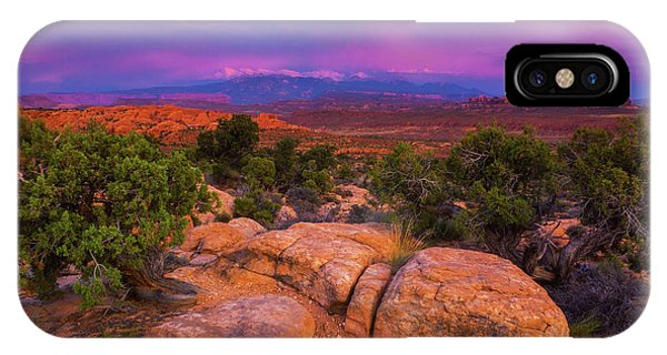 IPhone Case featuring the photograph A Sunset Over Arches by John De Bord