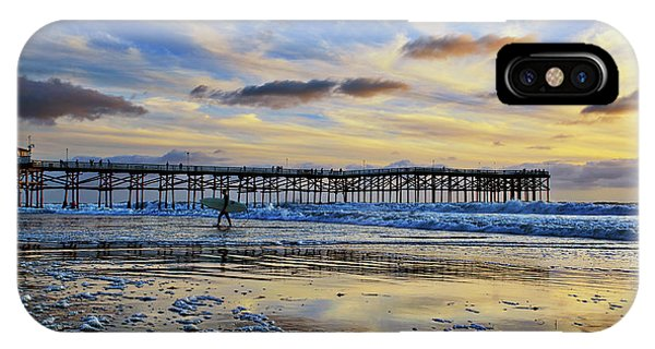 A Surfer Heads Home Under A Cloudy Sunset At Crystal Pier IPhone Case