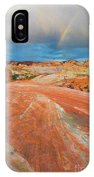 Valley Of Fire iPhone Case - A The End Of The Rainbow by Mike Dawson