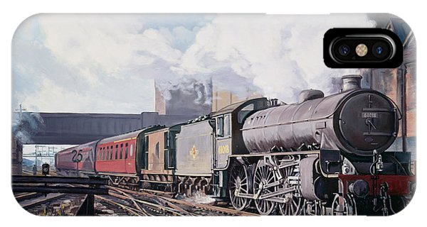 Railroad Signal iPhone Case - A 'thompson' B1 Class Moving Empty Stock On A Cold February Morning by David Nolan