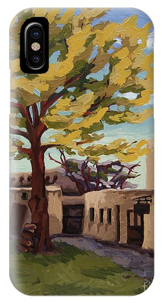 IPhone Case featuring the painting A Tree Grows In The Courtyard, Palace Of The Governors, Santa Fe, Nm by Erin Fickert-Rowland
