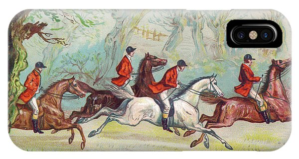 Horseman iPhone Case - A Victorian Greeting Card Of Fox Hunters Racing By While The Fox Hides In A Tree by Ernest Henry Griset