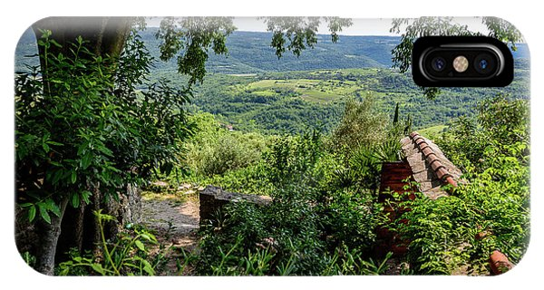 A View From Groznjan Of The Istrian Hill Town Countryside, Istria, Croatia IPhone Case
