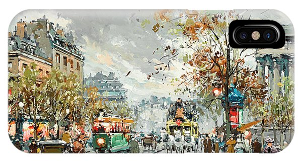 Trolley Car iPhone Case - A View Of La Madeleine by Antoine Blanchard