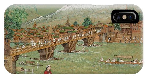 British Empire iPhone Case - A View Of Srinagar, 1872 by Bishan Singh