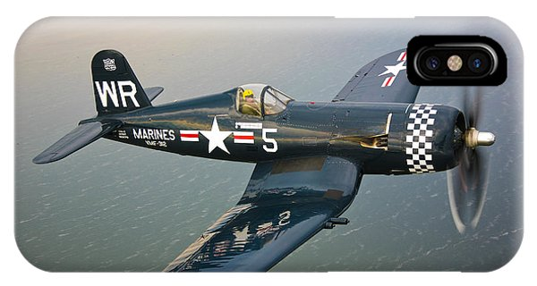 Airplanes iPhone Case - A Vought F4u-5 Corsair In Flight by Scott Germain