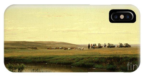 Barren iPhone Case - A Wagon Train On The Plains by Thomas Worthington Whittredge