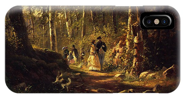 Wood Floor iPhone Case - A Walk In A Forest, 1869  by Ivan Ivanovich Shishkin