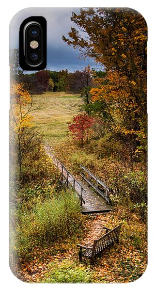 Park Bench iPhone Case - A Walk In The Park I by Tom Mc Nemar