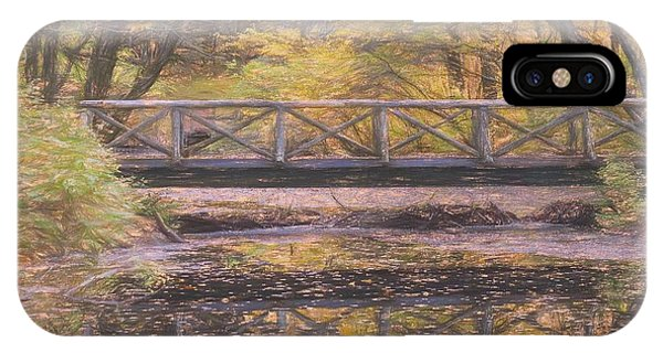 A Walking Bridge Reflection On Peaceful Flowing Water. IPhone Case