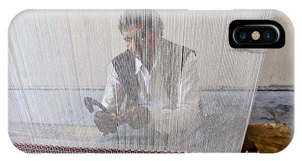 A Weaver Weaves A Carpet. IPhone Case