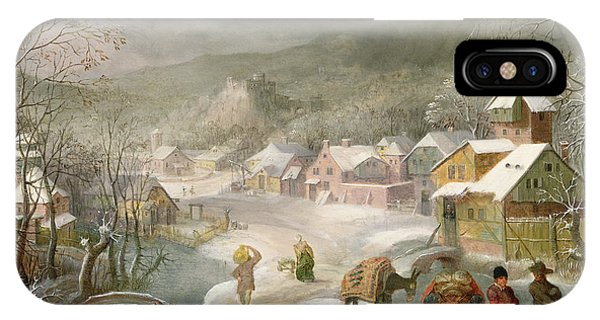 A Winter Landscape With Travellers On A Path IPhone Case