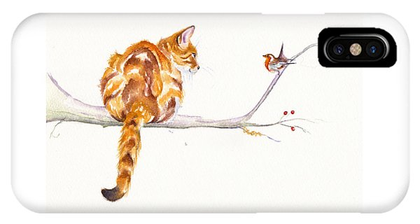 Cat iPhone X Case - A Winter Meeting by Debra Hall