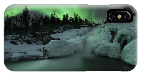 A Wintery Waterfall And Aurora Borealis IPhone Case