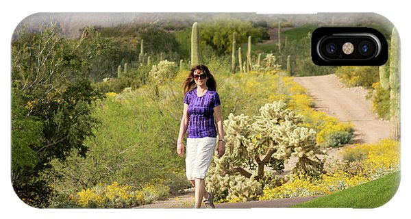 Teddy Bear Cholla iPhone Case - A Woman Walking In The Sonoran Desert by Derrick Neill