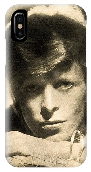IPhone Case featuring the digital art A Young David Bowie by Anthony Murphy