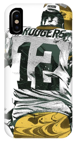 Nfl iPhone Case - Aaron Rodgers Green Bay Packers Pixel Art 6 by Joe Hamilton