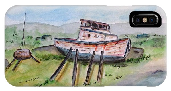 IPhone Case featuring the painting Abandoned Fishing Boat by Clyde J Kell