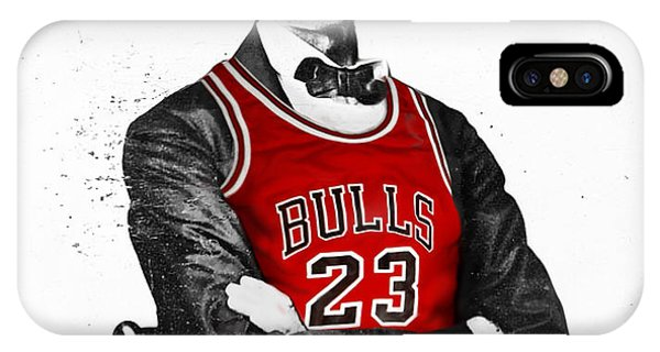 University Of Illinois iPhone Case - Abe Lincoln In A Michael Jordan Chicago Bulls Jersey by Rolyo