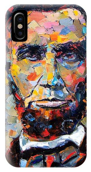 Texture iPhone Case - Abraham Lincoln Portrait by Debra Hurd
