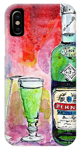 Absinthe Bottle And Glasses Watercolor By Ginette IPhone Case