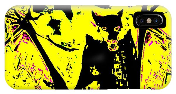 Black On Yellow Dog-man IPhone Case