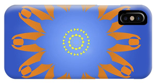 Arte iPhone Case - Abstract Blue Square, Orange And Yellow Star by Drawspots Illustrations