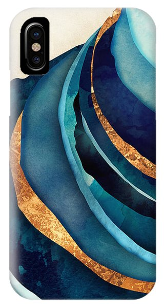 Cobalt Blue iPhone Case - Abstract Blue With Gold by Spacefrog Designs