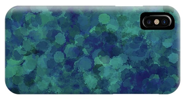 IPhone Case featuring the mixed media Abstract Blues 1 by Clare Bambers