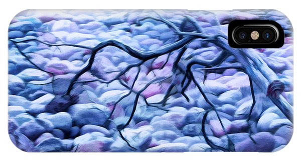 Abstract Claw Driftwood And Cobblestones At Cobblestone Beach, Acadia National Park IPhone Case