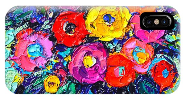 Abstract Colorful Wild Roses Modern Impressionist Palette Knife Oil Painting By Ana Maria Edulescu  IPhone Case