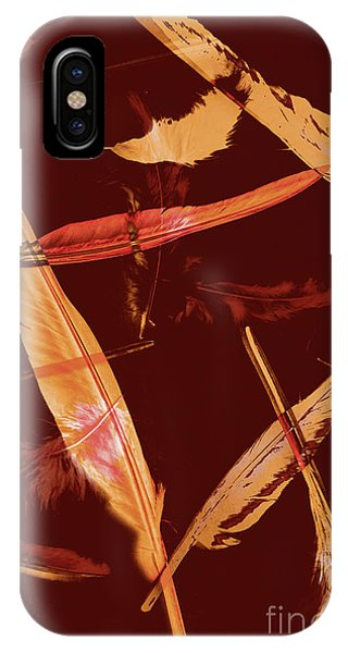 Abstract Feathers Falling On Brown Background IPhone Case