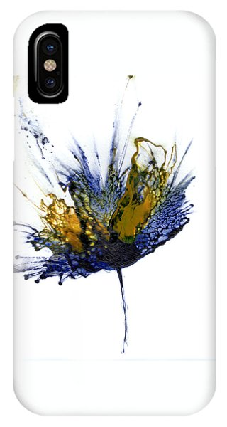 iPhone Case - Abstract Flower Navy Blue Yellow 1 by Catherine Jeltes