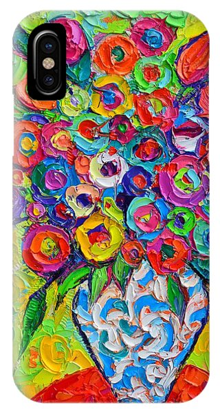 Abstract Flowers Of Happiness Impressionist Impasto Palette Knife Oil Painting By Ana Maria Edulescu IPhone Case