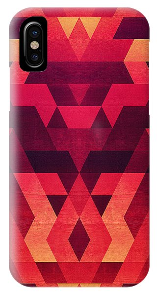 Abstract  Geometric Triangle Texture Pattern Design In Diabolic Future Red IPhone Case