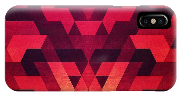 Love iPhone Case - Abstract  Geometric Triangle Texture Pattern Design In Diabolic Future Red by Philipp Rietz
