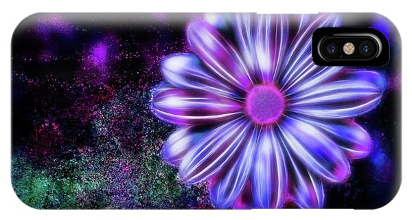 Abstract Glowing Purple And Blue Flower IPhone Case