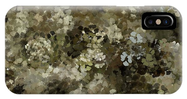 IPhone Case featuring the mixed media Abstract Gold Black White 5 by Clare Bambers
