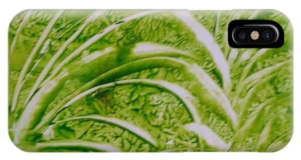 Abstract Green And White Leaves And Grass IPhone Case